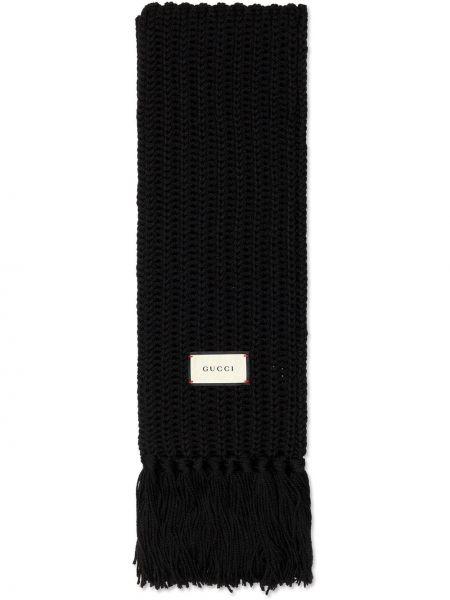 Wełniany czarny szalik przycięte Gucci