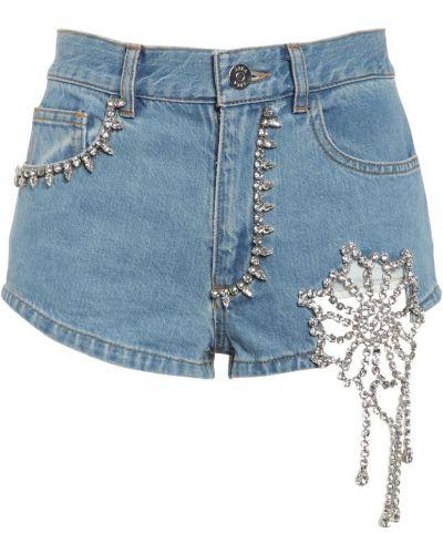 Синие джинсовые шорты с карманами с заплатками Area