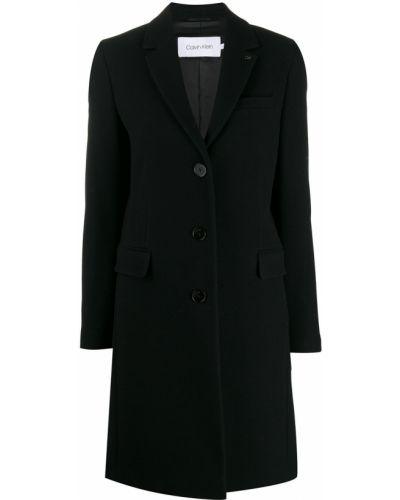 Однобортное черное длинное пальто с капюшоном Calvin Klein