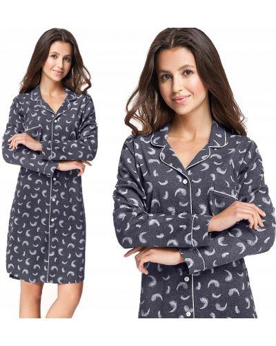 Szary bawełna bawełna z rękawami koszula nocna Luna