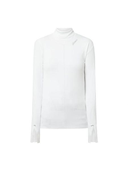 Biały sweter z kołnierzem z aplikacjami wąskie cięcie Guess