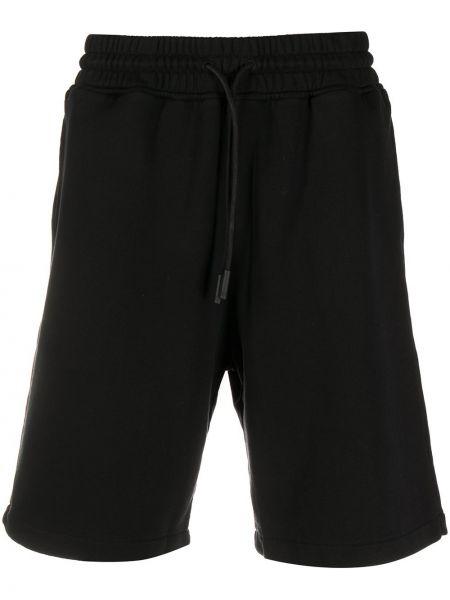 Czarny bawełna ze sznurkiem do ściągania bawełna szorty Marcelo Burlon County Of Milan