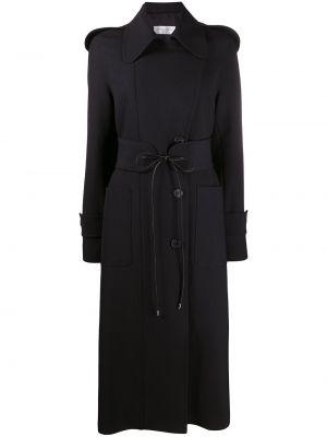 Bawełna czarny długi płaszcz z kołnierzem z kieszeniami Victoria Beckham