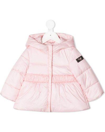 Пуховая розовая куртка с капюшоном Il Gufo