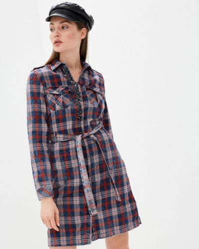 Синее платье-рубашка D'she