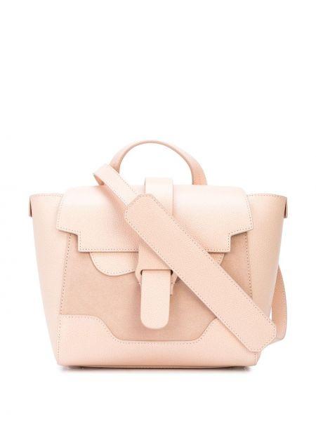 Różowa torebka mini skórzana klamry Senreve