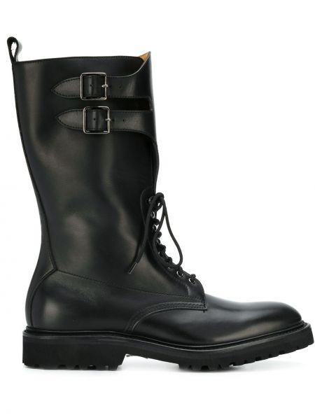 Черные сапоги без каблука на шнуровке с пряжкой круглые Holland & Holland