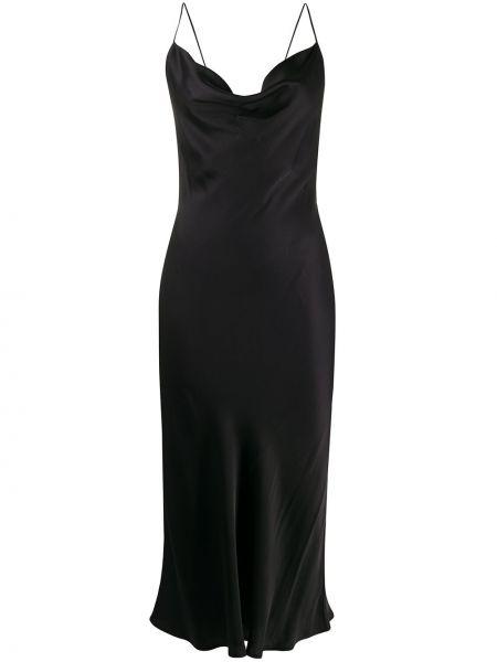 Черное приталенное платье миди с открытой спиной на бретелях Love Stories
