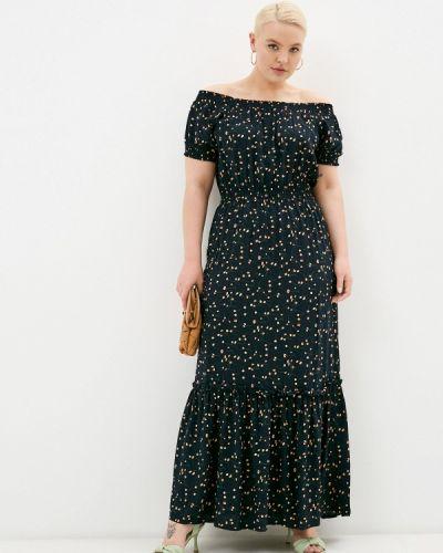 Синее платье со спущенными плечами Olbe
