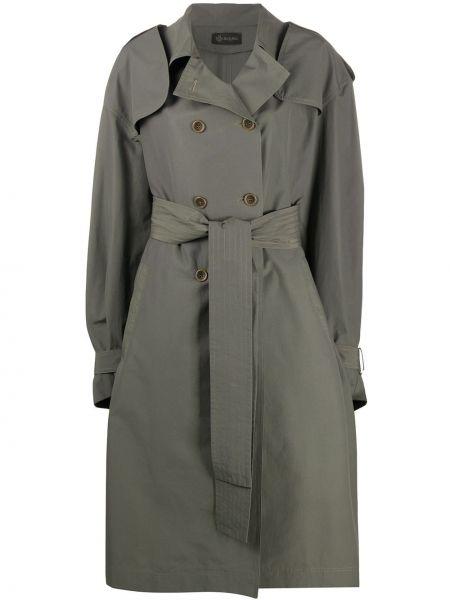 Хлопковый длинное пальто с поясом двубортный Mr & Mrs Italy