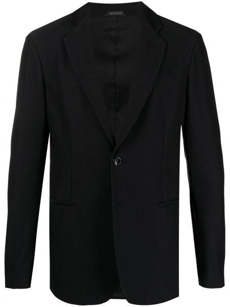 Однобортный черный удлиненный пиджак с карманами Giorgio Armani