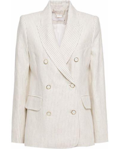 Льняной бежевый пиджак двубортный Zimmermann