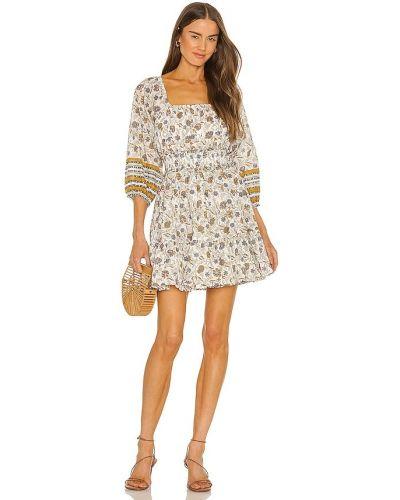 Белое текстильное платье мини в горошек Cleobella