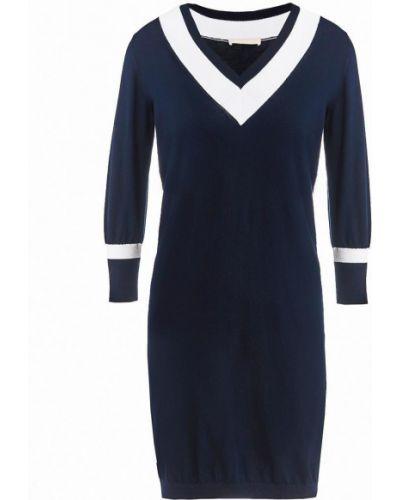 Хлопковое с рукавами синее платье миди Stefanel