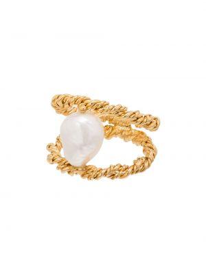 Złoty pierścionek pozłacany perły Joanna Laura Constantine