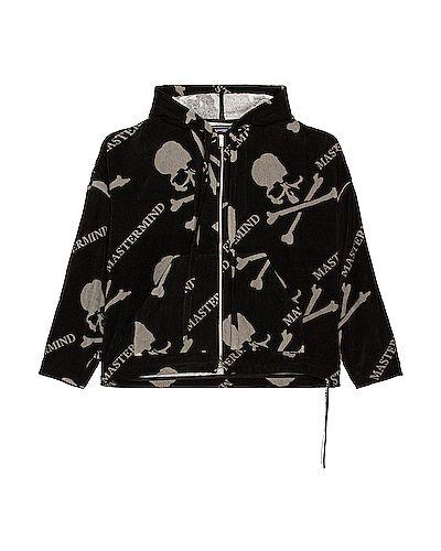 Czarna bluza kangurka bawełniana z printem Mastermind World