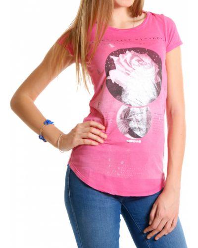 Розовая футболка хлопковая Gas