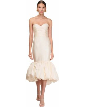 Biała sukienka z falbanami asymetryczna Sandra Mansour