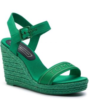 Sandały na koturnie zielony Tommy Hilfiger