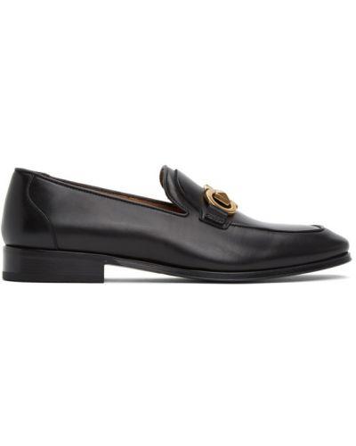 Skórzany czarny loafers na pięcie plac Salvatore Ferragamo