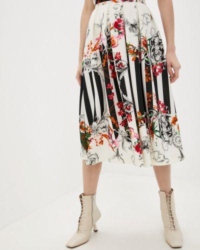 Белая юбка свободного кроя Арт-Деко