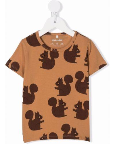 Brązowa koszulka bawełniana Mini Rodini