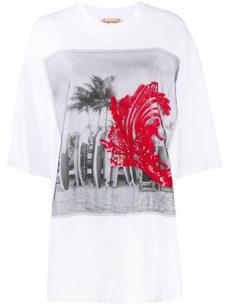 Белая прямая футболка с пайетками с круглым вырезом N°21