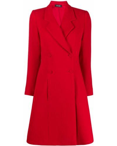 Расклешенное шерстяное длинное пальто с воротником Styland