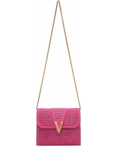 Розовая кожаная косметичка Versace