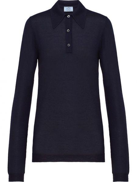 Ciepła niebieska koszula z długimi rękawami Prada