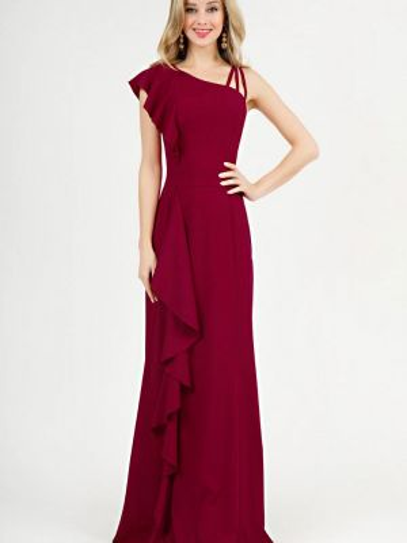 Вечернее платье бордовый осеннее Marichuell