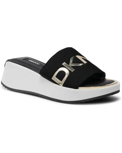 Czarne złote sandały Dkny