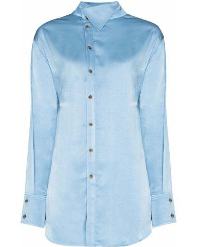 Синяя рубашка с воротником из вискозы Rejina Pyo