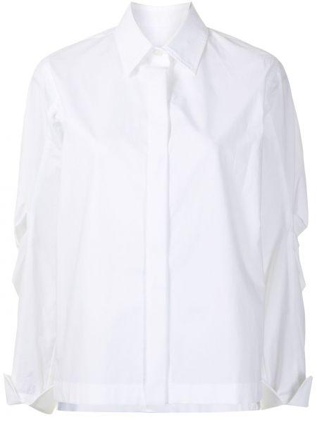 С рукавами белая классическая рубашка с воротником Odeeh