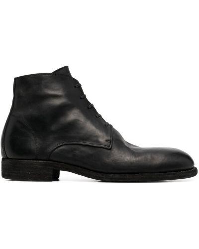 Czarne ankle boots skorzane koronkowe Guidi