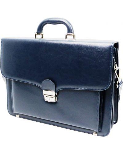 Кожаный портфель - синий Amo