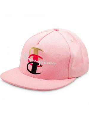 Różowa czapka z haftem bawełniana Supreme