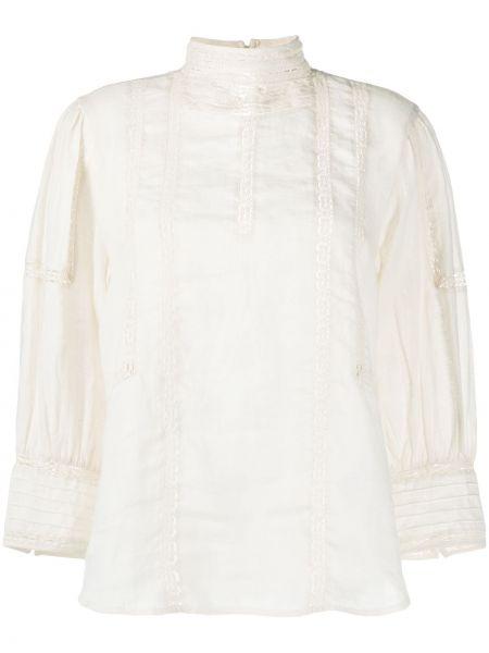 Beżowy ażurowy bielizna bluzka z kołnierzem Polo Ralph Lauren