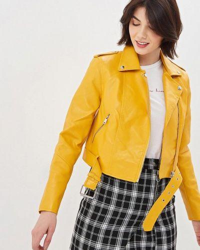 Кожаная куртка - желтая Jennyfer