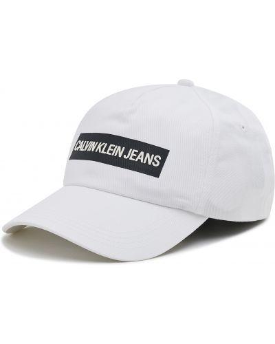 Biała czapka z daszkiem Calvin Klein Jeans