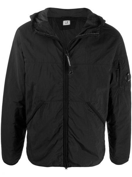 Куртка с капюшоном черная длинная Cp Company Kids
