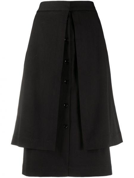 Prosto czarny wełniany z wysokim stanem spódnica ołówkowa Lemaire