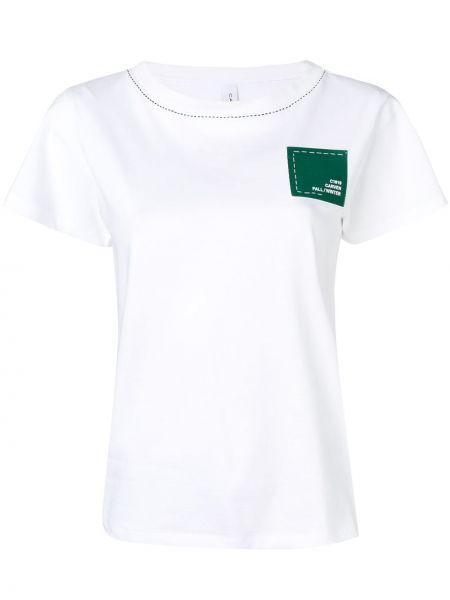 Biały t-shirt bawełniany z haftem Carven
