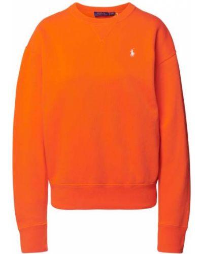Prążkowana pomarańczowa bluza bawełniana Polo Ralph Lauren
