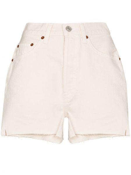 Белые классические джинсовые шорты с карманами с высокой посадкой Re/done