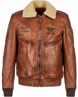 Кожаная куртка утепленная Aeronautica Militare