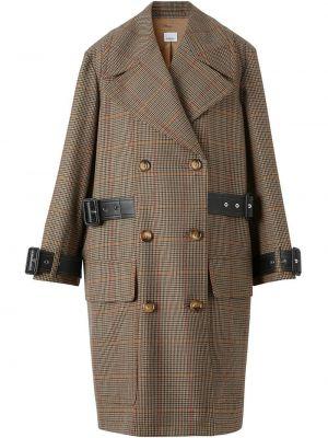 Кожаное длинное пальто в клетку двубортное Burberry