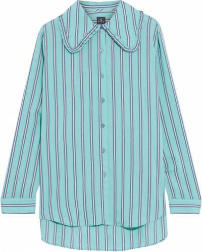 Koszula w paski z wiskozy turkusowa Ps Paul Smith