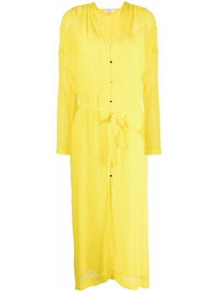 Желтое шелковое платье миди с вырезом Roseanna