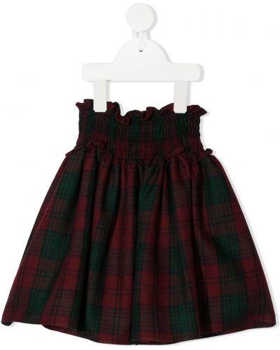 Красная шерстяная с завышенной талией юбка с поясом Siola
